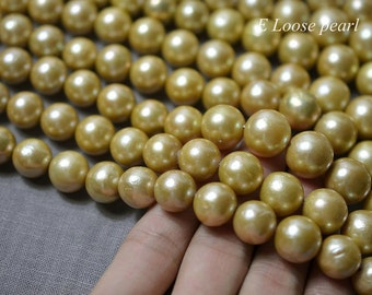 90% OFF Edison Pearl,Round pearl,Nucleated Pearl,Large hole Freshwater Pearl,Loose pearls,pearl necklace,Dark yellow 11.5-14.5mm PL4297