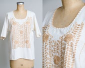 70s Mexican Souvenir Ivory Raw Cotton with Bone Floral Embroidered Babydoll Blouse