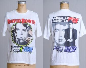 1990 David Bowie Sound and Vision Tour White Cotton Promo T Shirt