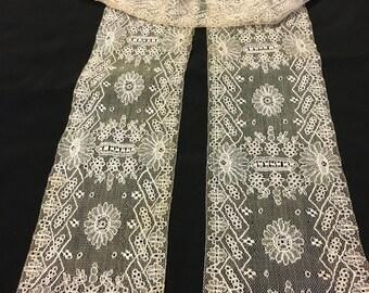 EXTRAORDINARY Antique DUCHESSE Point De Gaze Lace LAPPET..Handmade...Raised Detail  Needle Lace...Lace Collector