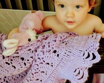 Crochet lavender baby blanket, original Baby Tuckers design, ruffles and frills, crib size, super soft baby yarn, Baby Shower/FREE USA Shipp