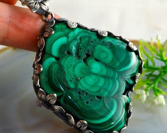 Malachite Necklace Green Stone Stalactite Pendant Sterling Silver Jewelry