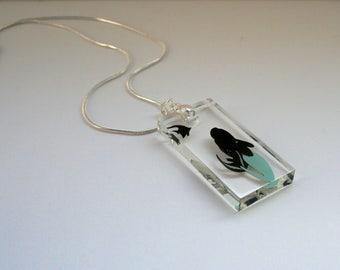 Little Mermaid Oblong Resin Papercut Pendant • Fairytale Necklace • Paper Cut Jewellery