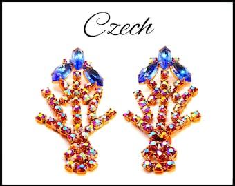 Vintage AB Czech Crystel Rhinestone Earrings, Aurora Borealis, Royal Blue & Pink AB Shoulder Dusters, Prom Earrings, Stage Performance