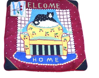 Vintage Welcome Home embroidered  pillow cover. Cat pillow case Christmas pillow case Home sweet home vintage needlework