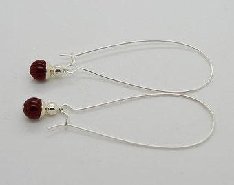 Garnet Sterling Silver Kidney Wire Earrings 30