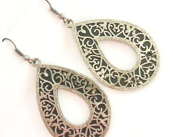 SALE Silver Filigree Dangles, Open Hoop Earrings