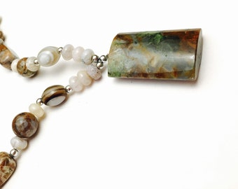 NATURAL Stone Pendant, Matching Necklace, Silver Tone Spacers, Native Design, Clearance Sale, Item No. B723