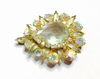Large clear Rhinestone Brooch:Pendant, Gold Tone, Vintage Wedding Accessory, Item No. B029