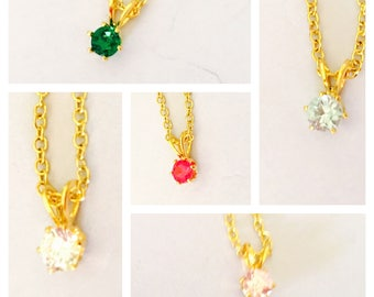 Delicate CZ pendant/Necklace, gold plated, choose a color, Clearance Sale, item no. S308