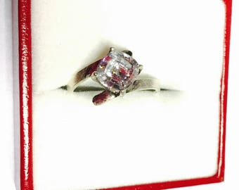 Clear C Z Ring Size 6.5, Vintage Solitaire, Sterling Silver, Large Stone, Stamped, Pre Holiday SALE, Item No. S472