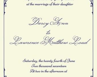 SALE 15% off ends Sunday wedding invitation, plum wedding invitation, purple wedding ideas, traditional invites, victorian scroll invite, vi