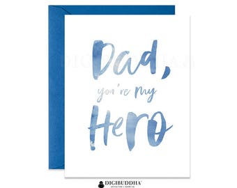 Father's Day Card Dad You're My Hero Card Fathers Day Greeting Card Cool Father's Day Card from Daughter Card Son Blue Watercolor CF0002