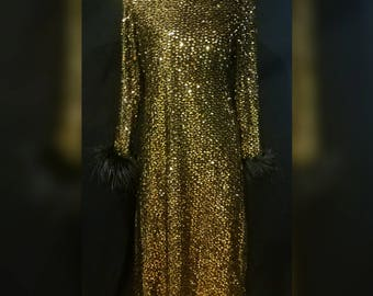 FREE shipping! Gorgeous vintage gold sequin and feather cuffed black dress with side slit. Size medium.