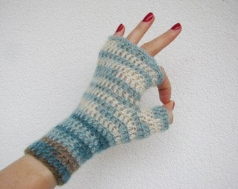 Fingerless crocheted gloves, turquoise cream and brown warm mitts, winter fashion, warm womens teens mittens made to order
