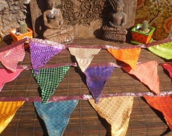 Tribal Textile Bunting, LaiThai Textile ,Thai Skirt Textile Bunting, Bright Happy Bunting,Party Bunting, Disco Bunting