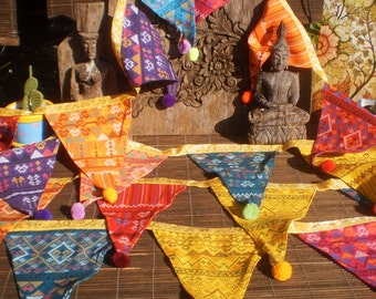 Tribal Textile Bunting Double Sided 6 Yards (18ft), With Pompoms, Beautiful Decoration Extra Long