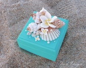 Turquoise Wedding Ring Pillow Box, Wedding Ring Bearer Box For Beach Wedding. Alternative Ring Bearer Box Pillow. Nautical Wood Chest Box