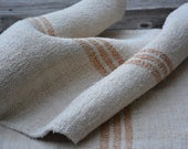 Homespun Linen Grain Sack with Ochre Stripes, Vintage Farmhouse Style, Rustic Linen Fabric for Vintage Supplies