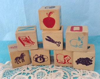 ABC blocks - 8 Wooden Blocks - Alphabet Blocks - letters and pictures - toddler toys - UpCycle Supply - Nursery Decor - Classic Children