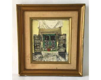 Vintage Painting, Rustic Window with Lace Curtains