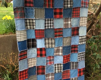 Upcycled Denim Rag Quilt, jeans quilt, red and black quilt