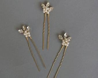 Horquillas de cristal, tocado de novia, tocado de diamantes de imitación, accesorio de la boda, oro peluca, peluca de plata - listo para enviar