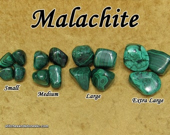 Malachite tumbled stone for crystal healing — multiple sizes available