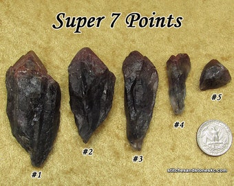 Super 7 (Super Seven) raw point stone for crystal healing