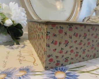 Very large antique/vintage French gorgeous card sewing box.  Beautiful cottage chic