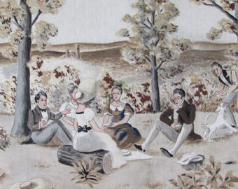 Superb huge French painted canvas wall hanging. Elegant garden scene by famous P de Lestrade