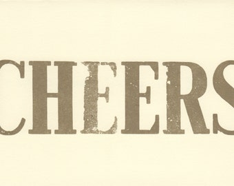 6 CHEERS Happy New Year Cards, Letterpress