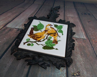 Vintage Cast Iron Tile Holder Trivet With Hand Painted Yellow Birds Lego Japan/ Trivet, Pair of Yellow Birds Hand Painted Ceramic Tile