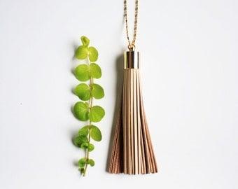 Boho Necklace - Long Tassel Necklace Neutral Leather