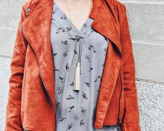 Boho Necklace - Long Leather Tassel Ivory Necklace