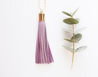 Boho Necklace - Long Tassel Necklace Lavender Leather