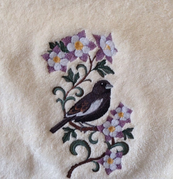Columbine Floral And Gifts: Six Columbine Flowers And Lark Bunting Machine Embroidery On