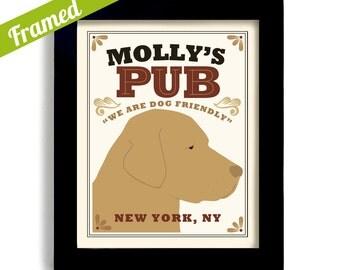 Yellow Labrador Retriever Art Bar Art Yellow Lab Gift for Him Personalized Dog Name Yellow Dog Pub Decor Dog Owner Gift Labrador Art