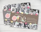 Ice Cream Social Timeline FIrst Birthday Invitation