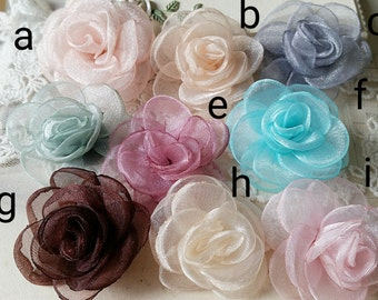 40 mm  Assorted  Colour Satin Rose Flower (t.u)