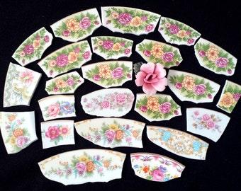Mosaic Tiles Vintage Flowers Pink