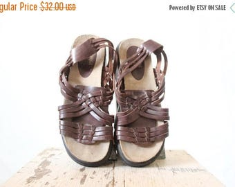 SALE Vintage Espresso Leather Woven Sandals Sz 10 Mark down, see details