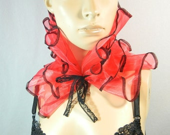 Bib Scarfette red rose Organza ruffled collar Collier Scarf Choker Burlesque Harlequin Clown Costume
