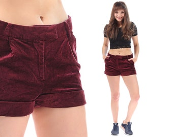 RED Velvet Shorts High Waisted Shorts 90s HOT PANTS Gothic Pockets Mod Tight Burgundy Red Goth Vintage Hipster Medium