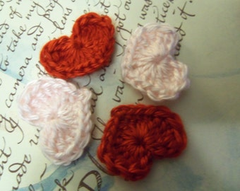 Red and Pink Crochet Heart Appliques. Set of Six Crochet Heart Appliques.