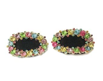 Shoe clips Vintage Shoe Buckles Pastel 1920s Shoe Clips Rhinestone Shoe Clips Wedding Shoe Slips Shoe Jewelry