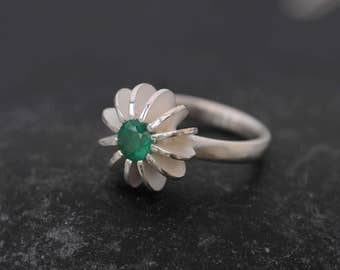 Emerald Ring  -  Green Gemstone Ring - Emerald Sea Urchin Ring - Emerald Engagement Ring - Made to Order -FREE SHIPPING