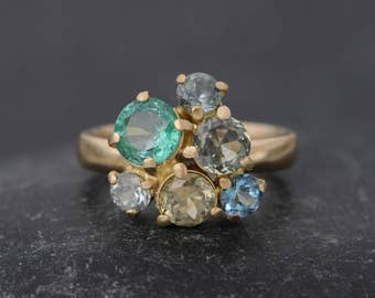 18K Gold Cluster Ring - Emerald and Sapphire Engagement Ring - Emerald & Montana Sapphire Engagement Ring - Ready to Ship Ring Size 6.5