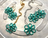 RESERVED for Jaime: Silver Teal Wire Flower Set IG Clearance Steals plus stuff