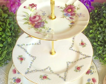 3 tier Floral Cake Stand Queen Anne, Royal Albert Aynsley